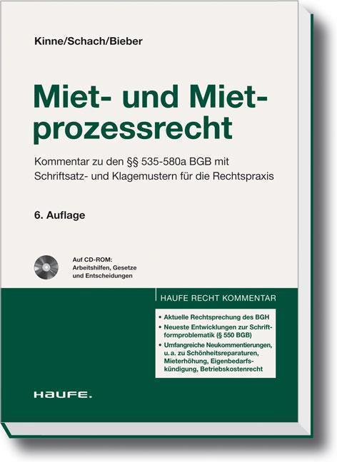 Miet- und Mietprozessrecht. Berliner Kommentare Kommentar zu den 535-580a BGB mit Schriftsatz- und Klagemustern für die Rechtspraxis